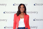 Laila Ali attends the Discovery Upfront 2018 at the Alice Tully Hall at Lincoln Center on April 10, 2018 in New York City.
