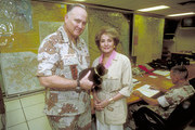 """20/20 - 3/13/91  .Barbara Walters talks to General H. Norman Schwarzkopf at his headquarters in Riyadh, Saudi Arabia, where the General took Barbara on a tour of the war room. He is pictured here holding the bear his sister gave him for Christmas. The interview aired Friday, March 15, 1991 (10-11 p.m., ET) on the ABC News magazine """"20/20"""" on the ABC Television Network.  .(Photo by Laurent Chamussey/ABC via Getty Images).GENERAL H. NORMAN SCHWARZKOPF, BARBARA WALTERS"""