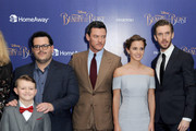 """(L-R) Nathan Mack, Josh Gad, Luke Evans, Emma Watson and Dan Stevens attend UK launch event for Disney's """"Beauty And The Beast"""" at Odeon Leicester Square on February 23, 2017 in London, England."""
