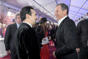 Actor Lin-Manuel Miranda (L) and The Walt Disney Company Chairman and CEO Bob Iger attend Disney's 'Mary Poppins Returns' World Premiere at the Dolby Theatre on November 29, 2018 in Hollywood, California.