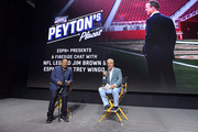 "(L-R) Jim Brown and Trey Wingo speak onstage as ESPN+ Presents: a Fireside Chat with NFL Legend Jim Brown and Trey Wingo, during an exclusive screening of original series ""Peyton's Places"", at the Disney+ Showcase at Disney's D23 EXPO 2019 in Anaheim, CA. ""Peyton's Places"" will stream exclusively on Disney+, which launches November 12."