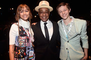 Grace VanderWaal (far L) and Graham Verchere (far R) of 'Stargirl' and Giancarlo Esposito (C) of 'The Mandalorian' took part today in the Disney+ Showcase at Disney's D23 EXPO 2019 in Anaheim, Calif. 'Stargirl' and 'The Mandalorian' will stream exclusively on Disney+, which launches November 12.