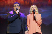 (L-R) Josh Gad and Kristen Bell of 'Frozen 2' took part today in the Walt Disney Studios presentation at Disney's D23 EXPO 2019 in Anaheim, Calif.  'Frozen 2' will be released in U.S. theaters on November 22, 2019.