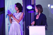 Suranne Jones presents 'Broadcaster of the year award at the Diva Awards 2019 at The Waldorf Hilton Hotel on June 07, 2019 in London, England.