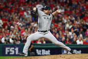 Jaime Garcia #34 of the New York Yankees delivers the pitch during the fifth inning against the Cleveland Indians during game one of the American League Division Series at Progressive Field on October 5, 2017 in Cleveland, Ohio.