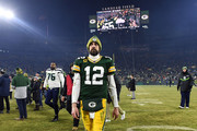 Aaron Rodgers #12 of the Green Bay Packers reacts after defeating the Seattle Seahawks 28-23 in the NFC Divisional Playoff game at Lambeau Field on January 12, 2020 in Green Bay, Wisconsin.