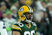 Jimmy Graham #80 of the Green Bay Packers reacts after a first-down catch against the Seattle Seahawks during the first quarter of the NFC Divisional Playoff game at Lambeau Field on January 12, 2020 in Green Bay, Wisconsin.