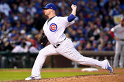 Jon Lester #34 of the Chicago Cubs pitches in the fifth inning during game four of the National League Division Series against the Washington Nationals at Wrigley Field on October 11, 2017 in Chicago, Illinois.