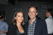 "Seth Meyers and wife Alexi Ashe attend the afterparty for the New York Screening for ""Documentary Now!"" at New World Stages on August 18, 2015 in New York City."