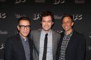 """(L-R) Fred Armisen, Bill Hader and Seth Meyers attend the New York screening for """"Documentary Now!"""" at New World Stages on August 18, 2015 in New York City."""