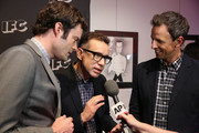 """(L-R) Bill Hader, Fred Armisen and Seth Meyers attend the New York screening for """"Documentary Now!"""" at New World Stages on August 18, 2015 in New York City."""