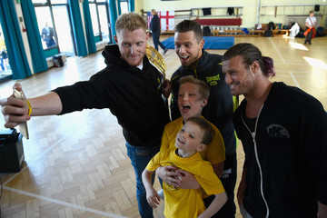 Dolph Ziggler Ben Stokes With WWE Wrestlers and Chance to Shine ECB Event