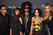 Hidetoshi Nakata, Susan Sarandon, Lenny Kravitz, Zo? Kravitz and Abbey Lee Kershaw attend the Dom P?rignon & Lenny Kravitz: 'Assemblage' Exhibition at Skylight Modern on September 28, 2018 in New York City.