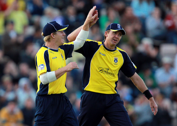Hampshire v Durham - Friends Life T20 [player,referee,team sport,sports,ball game,sports equipment,championship,team,sport venue,james adams,r,dominic cork,durham - friends life t20,wicket,hampshire,southampton,match,friends life t20 quarter final,the rose bowl]
