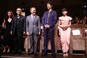 Megumi Kagurazaka, Sion Sono, Jun Kunimura, Hiroki Hasegawa and Fumi Nikaido attends Why Don't You Play In Hell? Premiere during the 70th Venice International Film Festival on August 29, 2013 in Venice, Italy.
