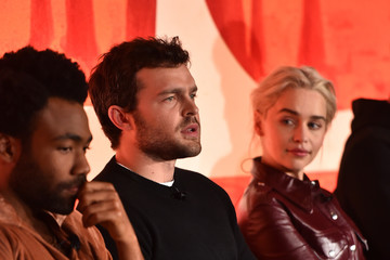 Donald Glover Emilia Clarke STARS Stars And Filmmakers Hold L.A. Press Conference For 'SOLO: A Star Wars Story'