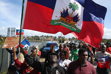 Donald Trump Haitian Community Activists Protest President Trump's Recent Offensive Comments Near Mar-a-Lago