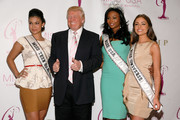 (L to R) Miss Teen USA Logan West, Donald Trump, Miss USA Nana Meriwether and Miss Universe Olivia Culpo attend the crowning ceremony of the new Miss USA at Trump Tower on January 9, 2013 in New York City.