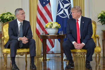 Donald Trump Jens Stoltenberg NATO Leaders Summit Takes Place In The UK - Day One