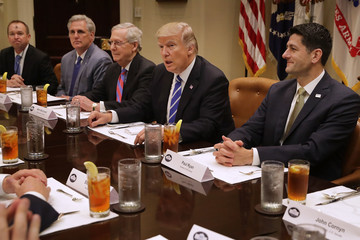 Donald Trump Mick Mulvaney President Trump Hosts Lunch With House And Senate Leadership At White House
