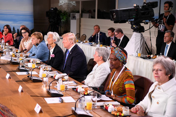 Donald Trump Theresa May Heads Of State Attend G7 Meeting - Day Two