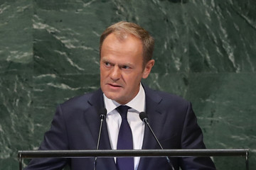 Donald Tusk President Trump Holds News Conference In New York