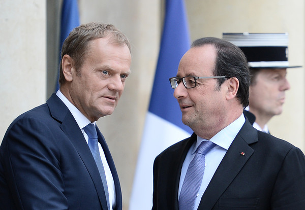 French President Francois Hollande Receives Donald Tusk, President of The European Council, At Elysee Palace In Paris
