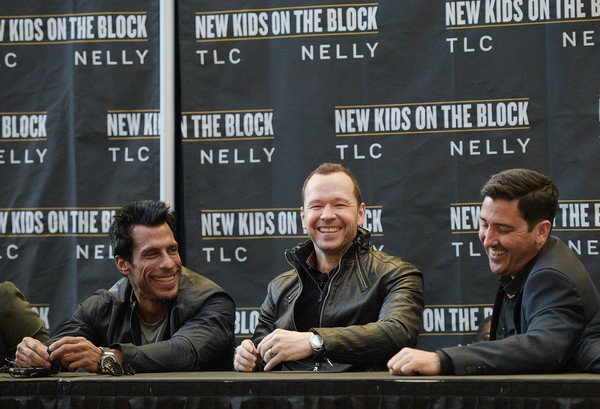 New Kids on the Block Press Conference [event,news conference,games,jonathan knight,danny wood,donnie wahlberg,l-r,new kids on the block press conference,new york city,madison square garden]