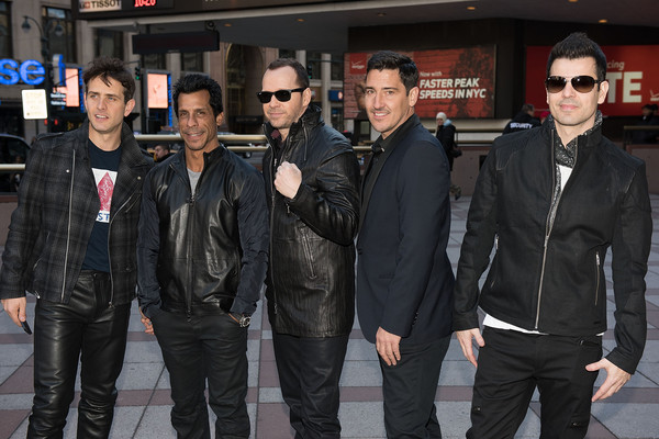 New Kids on the Block Press Conference [leather jacket,jacket,leather,event,outerwear,bodyguard,joey mcintyre,jordan knight,jonathan knight,danny wood,donnie wahlberg,new kids on the block press conference,new kids on the block,photo,madison square garden,press conference]