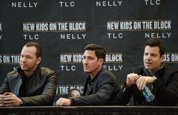 New Kids on the Block Press Conference [news conference,games,event,jordan knight,jonathan knight,donnie wahlberg,l-r,new kids on the block press conference,new york city,madison square garden]