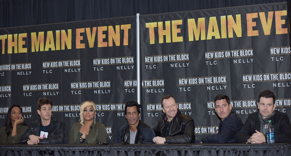 New Kids on the Block Press Conference [new kids on the block press conference,event,team,advertising,joey mcintyre,jonathan knight,jordan knight,danny wood,donnie wahlberg,t-boz,chilli,madison square garden,new york city]