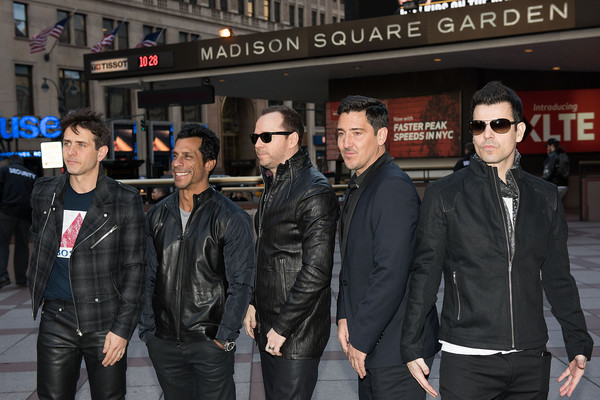 New Kids on the Block Press Conference [leather jacket,jacket,event,leather,premiere,joey mcintyre,jordan knight,jonathan knight,danny wood,donnie wahlberg,new kids on the block press conference,new kids on the block,photo,madison square garden,press conference]