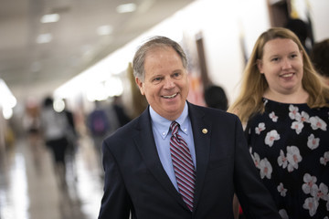Doug Jones Politicians And Protestors React To New Kavanaugh Accusations On Capitol Hill