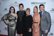 "Sophie McShera, Michelle Dockery, Lesley Nicol, Joanne Froggatt and Allen Leech attend the ""Downton Abbey: The Exhibition"" Gala Receptionon November 17, 2017 in New York City."