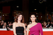 """Caterina Balivo (R) attends the """"Downton Abbey"""" red carpet during the 14th Rome Film Festival on October 19, 2019 in Rome, Italy."""