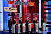 Republican presidential candidates (L-R) Rick Santorum, Texas Gov. Rick Perry, former Massachusetts Gov. Mitt Romney, former speaker of the House Newt Gingrich, U.S. Rep. Ron Paul (R-TX), and U.S. Rep. Michele Bachmann (R-MN), debate during the ABC News GOP Presidential Debate on the campus of Drake University on December 10, 2011 in Des Moines, Iowa. Rivals were expected to target front runner Gingrich in the debate hosted by ABC News, Yahoo News, WOI-TV, The Des Moines Register and the Iowa GOP. December 10, 2011 in Des Moines, Iowa.