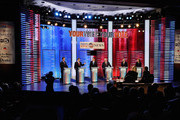 Republican presidential candidates (L-R) Rick Santorum, Texas Gov. Rick Perry, former Massachusetts Gov. Mitt Romney, former speaker of the House Newt Gingrich, U.S. Rep. Ron Paul (R-TX),  and U.S. Rep. Michele Bachmann (R-MN),during the ABC News GOP Presidential debate on the campus of Drake University on December 10, 2011 in Des Moines, Iowa. Rivals were expected to target front runner Gingrich in the debate hosted by ABC News, Yahoo News, WOI-TV, The Des Moines Register and the Iowa GOP.