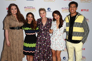"(L-R) Lauren Ash, Aimee Carrero, AJ Michalka, Karen Fukuhara and Marcus Scribner attend the DreamWorks ""She-Ra and the Princesses of Power"" Fan Screening at DreamWorks Animation on April 25, 2019 in Glendale, California."
