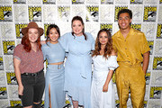 (L-R) Noelle Stevenson, Karen Fukuhara, Lauren Ash, Aimee Carrero and Marcus Scribner attend DreamWorks She-Ra and the Princesses of Power at San Diego Comic-Con 2019 at San Diego Convention Center on July 19, 2019 in San Diego, California.
