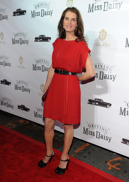 "Actress Brooke Shields attends the opening night of ""Driving Miss Daisy"" on Broadway at John Golden Theatre on October 25, 2010 in New York City."