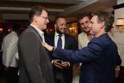(L-R) Principal, Blumenfeld Development Group, Ltd. David Blumenfeld, founder and CEO, Four Hundred Tony Abrams, co-fouder Bremont Watch Company Nick English and fouder and CEO, DuJour Media Jason Binn attend DuJour's Jason Binn and Bremont Watch Company's Nick English intimate influencers dinner at Harry Cipriani on October 13, 2015 in New York City.