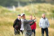 Edoardo Molinari of Italy plays his second shot on the 10th hole during day one of the Dubai Duty Free Irish Open at Ballyliffin Golf Club on July 5, 2018 in Donegal, Ireland.