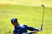 Matteo Manassero of Italy hits his second shot on the 18th hole during day one of the Dubai Duty Free Irish Open at Ballyliffin Golf Club on July 5, 2018 in Donegal, Ireland.