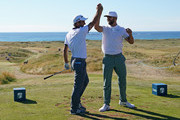 Edoardo Molinari of Italy celebrates with Erik van Rooyen of South Africa after he makes a hole in one on the par three 14th hole during the second round of the Dubai Duty Free Irish Open at Ballyliffin Golf Club on July 6, 2018 in Donegal, Ireland.