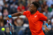 Gael Monfils of France in action against Stefanos Tsitsipas of Greece during  his men's semi final match on day thirteen of the Dubai Duty Free Tennis Championships  at Dubai Duty Free Tennis Stadium March 01, 2019 in Dubai, United Arab Emirates.
