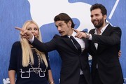 "Director James Franco (C), producer Andrea Iervolino and producer Monika Bacardi attend the photocall of the movie ""In Dubious Battle"" presented out of competition at the 73rd Venice Film Festival on September 3, 2016 at Venice Lido. / AFP / FILIPPO MONTEFORTE"