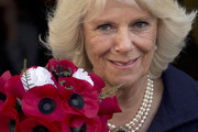 Camilla, Duchess of Cornwall holds a poesy of poppies, after her visit to the Poppy Factory on October 24, 2013 in London, England.   Since 1922, the Poppy Factory has delivered the single-minded ambition to help wounded, injured or sick ex-Servicemen and women and their dependents to find paid, meaningful civilian employment. Workers at the factory produce millions of poppies, wreaths and wooden crosses by hand for the Royal British Legion's annual Remembrance Day appeal.