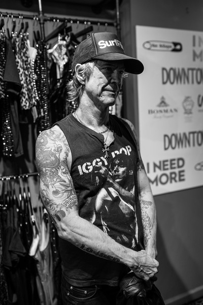 Mae McKagan Capsule Collection Launch At I NEED MORE [image,fashion,black-and-white,monochrome,textile,monochrome photography,photography,tattoo,street,musician,facial hair,duff mckagan,new york city,mae mckagan capsule collection launch]