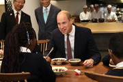 Prince William, Duke of Cambridge joins in with local school children from St Cuthbert with St Matthias CE Primary School learning the art of using chopsticks during The Official Opening of Japan House London, the new Cultural Home of Japan in the UK on September 13, 2018 in London, England.