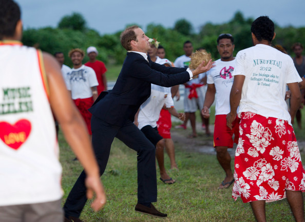 Prince William, Duke of Cambridge plays a Tulvaluian game called Te Ano on September 18, 2012 in Tuvalu. Prince William, Duke of Cambridge and Catherine, Duchess of Cambridge are on a Diamond Jubilee tour representing the Queen taking in Singapore, Malaysia, the Solomon Islands and Tuvalu.